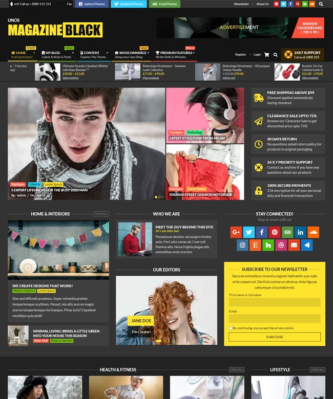 Unos Magazine Black Wordpress Theme Wphoot